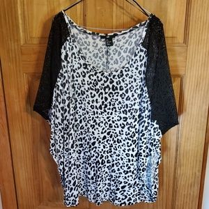 H&M Black and White Cheetah Print Top